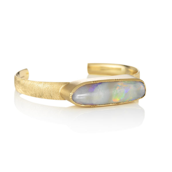 Hand made in London Brooke Gregson 18k gold Engraved Boulder Opal Cuff