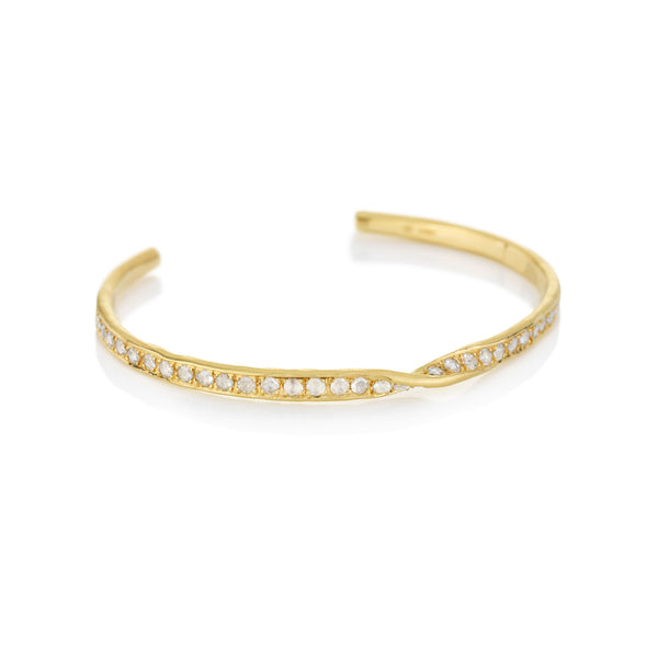 Hand made in London Brooke Gregson 18k gold Diamond Cuff Bracelet