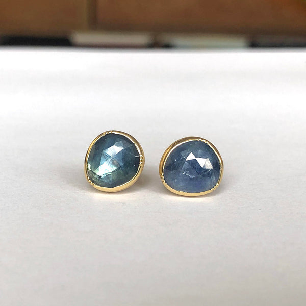 ORBIT BLUE SAPPHIRE STUD EARRINGS