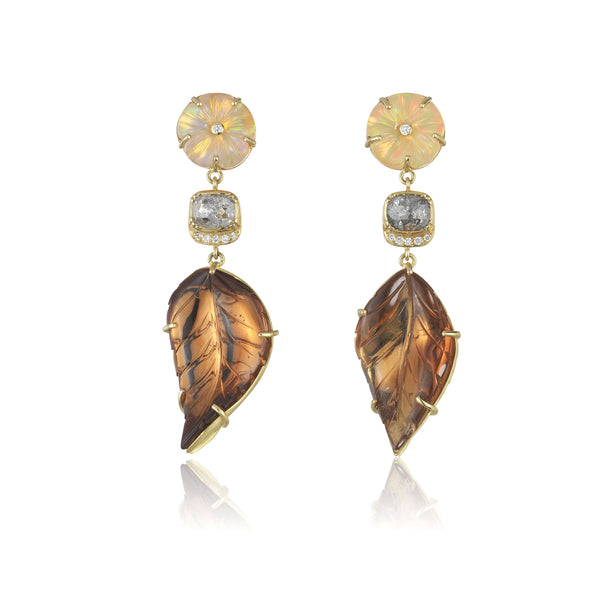 Hand made in London Brooke Gregson 18k gold carved tourmaline leaf and diamond earrings