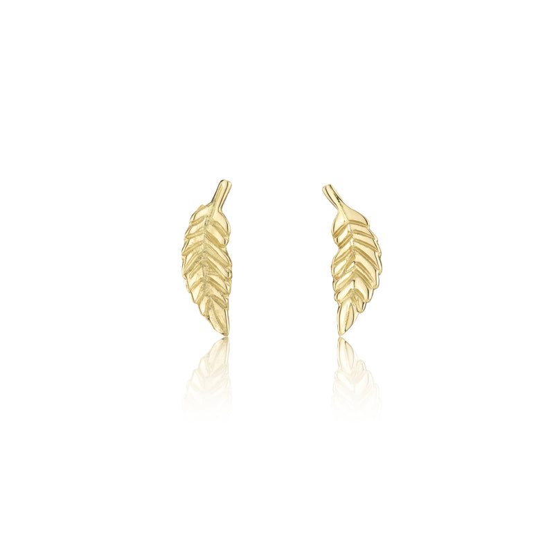 Hand made in London 18k gold carved leaf earrings