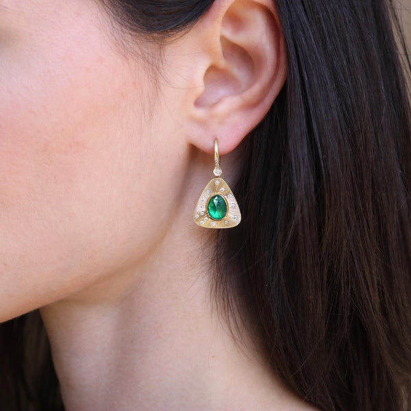 Emerald Engraved Starlight EARRINGS