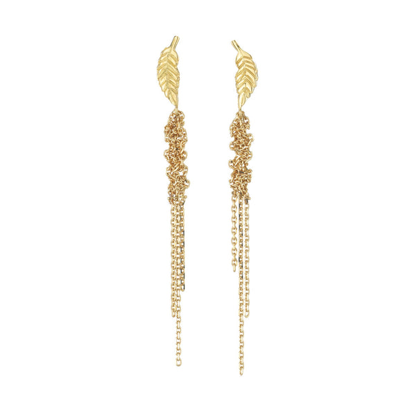 Hand made in London Brooke Gregson 18k gold carved leaf earrings with 18k woven gold chain