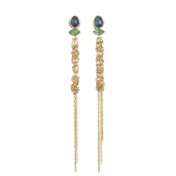 Hand made in London Brooke Gregson 18k gold blue sapphire Emerald earrings with 18k woven gold chain