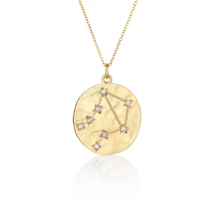 Hand made in Los Angeles Brooke Gregson 14k gold Zodiac Astrology Libra Diamond Star Sign Necklace