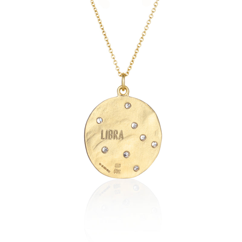 Hand made in Los Angeles Brooke Gregson 14k gold Zodiac Astrology Libra Diamond Necklace back view