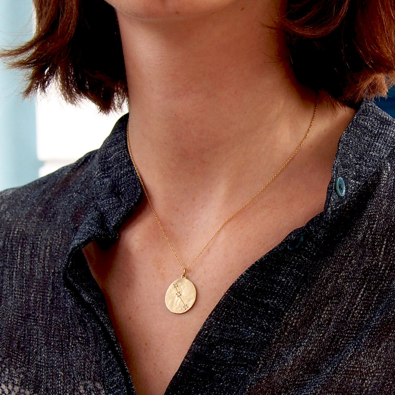 Model wearing Hand made in Los Angeles Brooke Gregson 14k gold Zodiac Aries Diamond Star sign Necklace