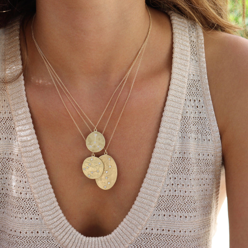 Model wearing Hand made in Los Angeles Brooke Gregson 14k gold Zodiac Astrology Libra Diamond Star Sign Necklace