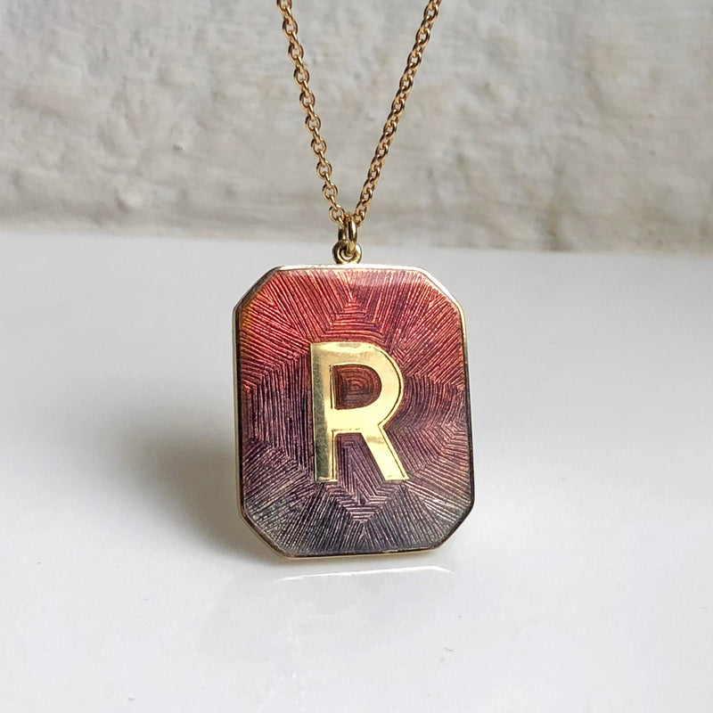 Alpha Enamel Engraved Necklace