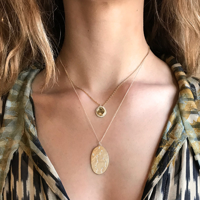 Model wearing Hand made in Los Angeles Brooke Gregson 14k gold Astrology Zodiac Virgo Diamond Star Sign Necklace