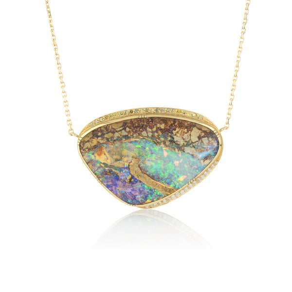 Hand made in London Brooke Gregson 18k gold Boulder Opal Diamond Necklace