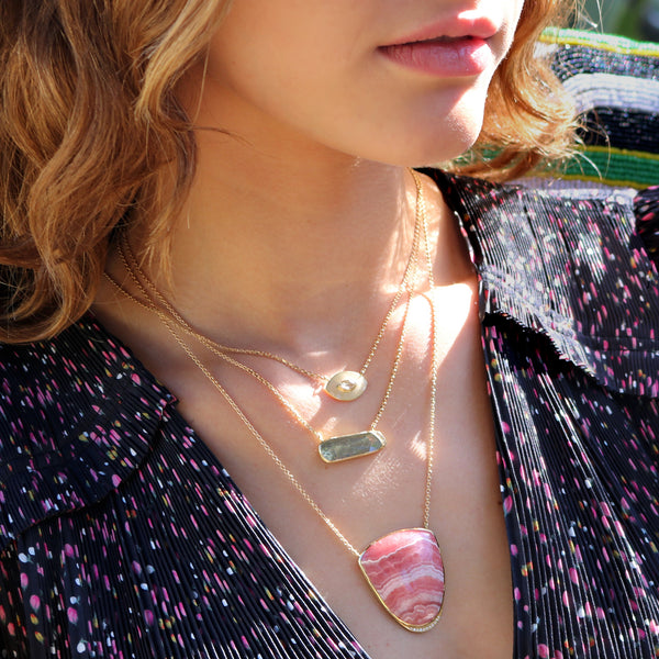 Model wearing Hand made in London Brooke Gregson 18k Gold Rhodochrosite Necklace