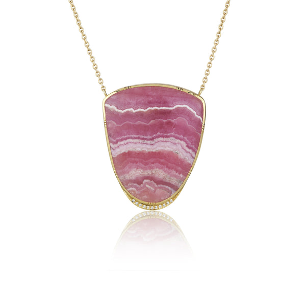 Hand made in London Brooke Gregson 18k Gold Rhodochrosite Necklace