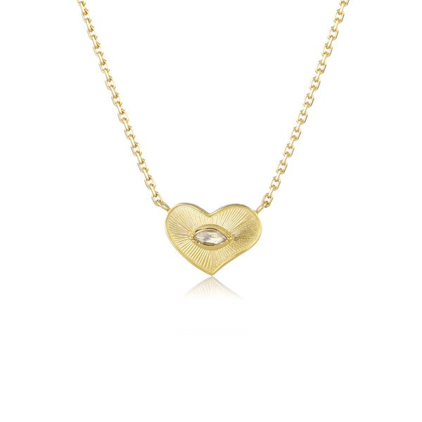 Hand made in London Brooke Gregson 18k gold engraved heart diamond necklace