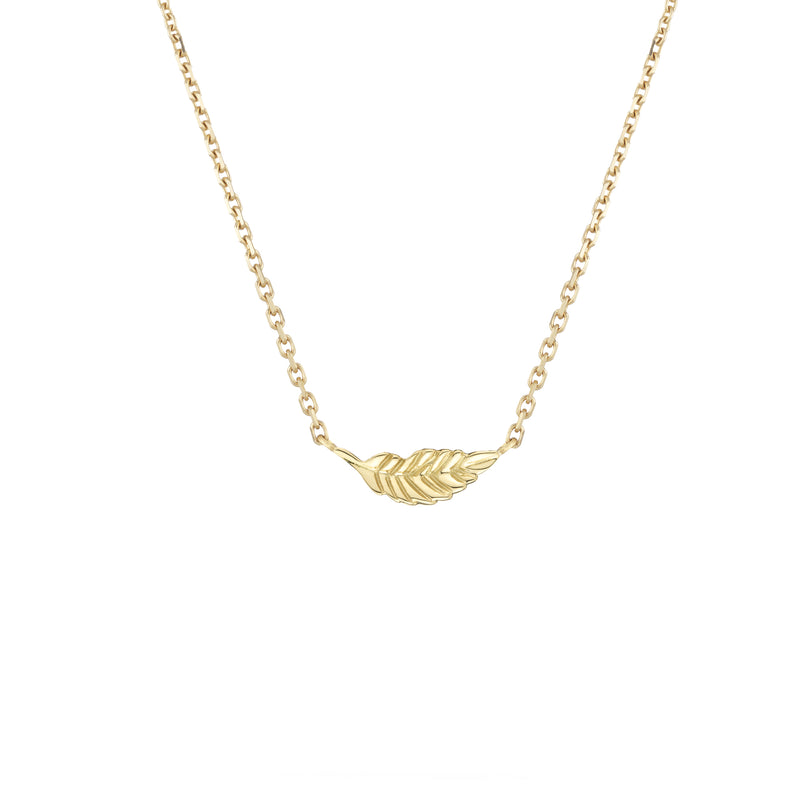 Hand made in London 18k gold carved leaf necklace