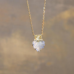 Maya Chalcedony LEAF Diamond NECKLACE