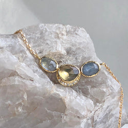 ORBIT 3 SAPPHIRE DIAMOND HALO NECKLACE