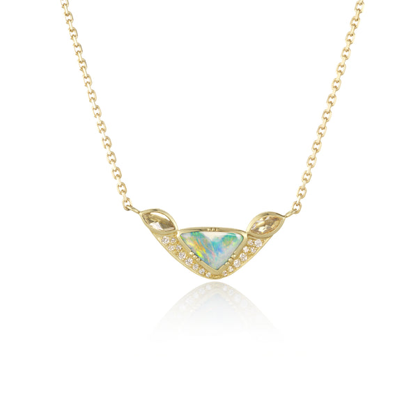 Hand made in London Brooke Gregson 18k gold Diamond Boulder Opal Necklace