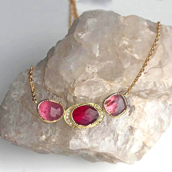 Brooke Gregson 18k gold ruby and pink sapphire necklace with diamond detail hand made in London