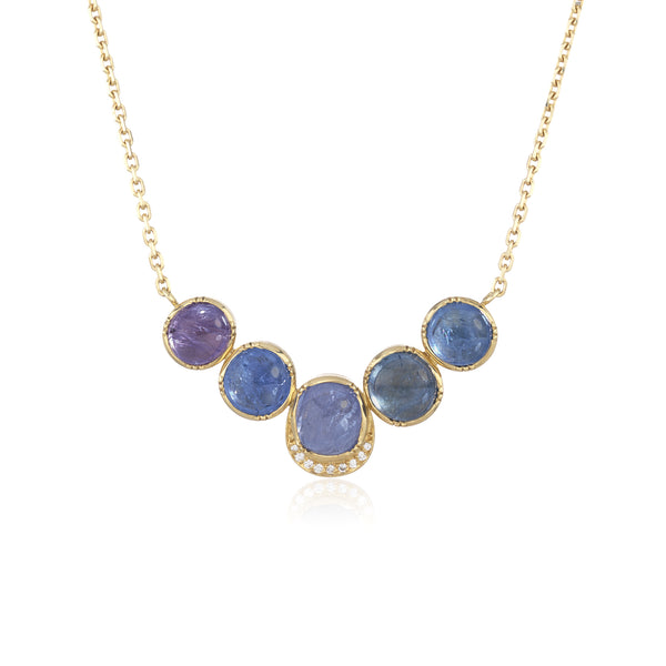Hand made in London Brooke Gregson 18k gold Blue Sapphire Necklace