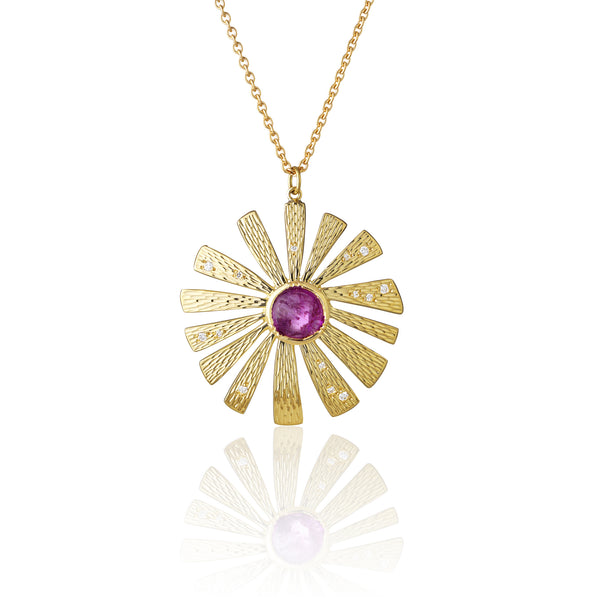 Hand made in London Brooke Gregson 18k gold pink sapphire and diamond Flower Necklace