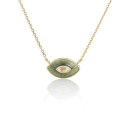 Hand Made in London Brooke Gregson 18k gold Olive enamel Diamond Necklace
