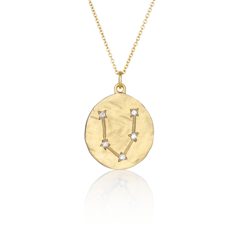 Hand made in Los Angeles Brooke Gregson 14k gold Astrology Zodiac Pisces Diamond Star Sign Necklace