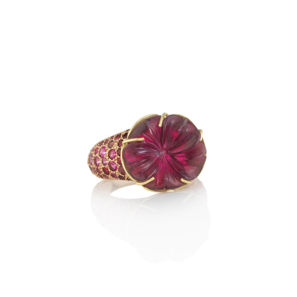 Hand made in London Brooke Gregson 18k gold carved Tourmaline Flower Ring with Spinel Pave Band