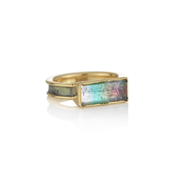 Hand made in London Brooke Gregson 18k gold enamel band rainbow tourmaline ring