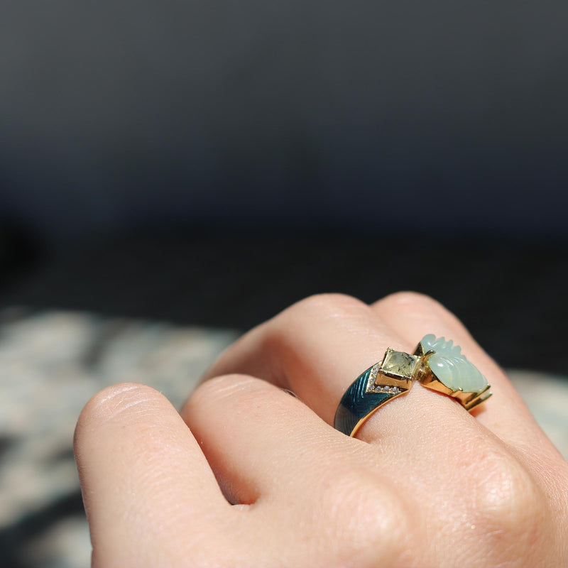 Maya Enamel Aqua Leaf Diamond Ring