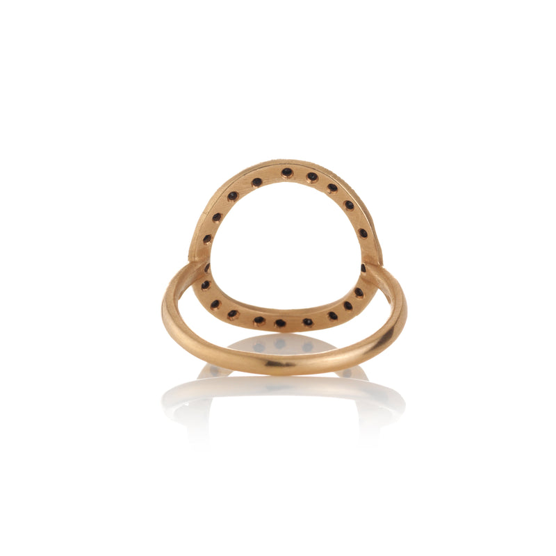 Hand made in Los Angeles Brooke Gregson 14k rose gold black diamond Circle ring back view