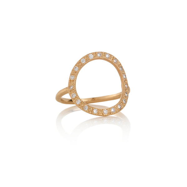 Hand made in Los Angeles Brooke Gregson 14k rose gold white diamond pave Circle ring