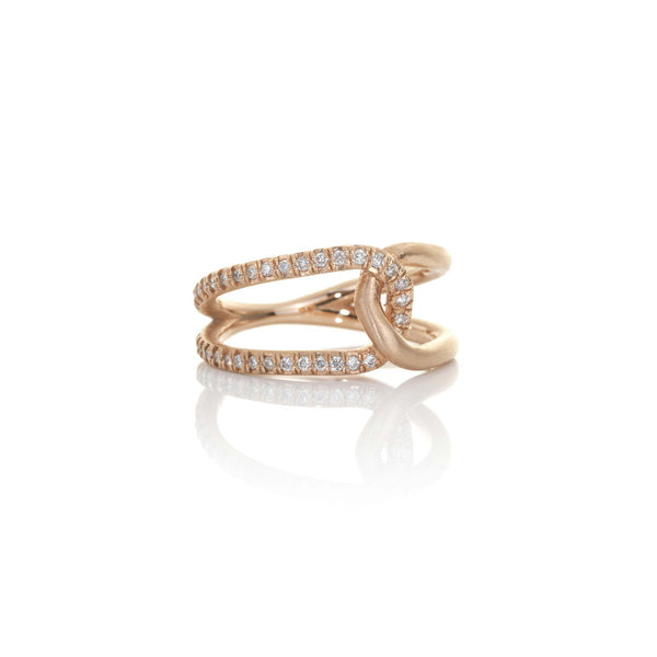 Hand made in Los Angeles Brooke Gregson 14k rose gold Diamond Love Knot Ring
