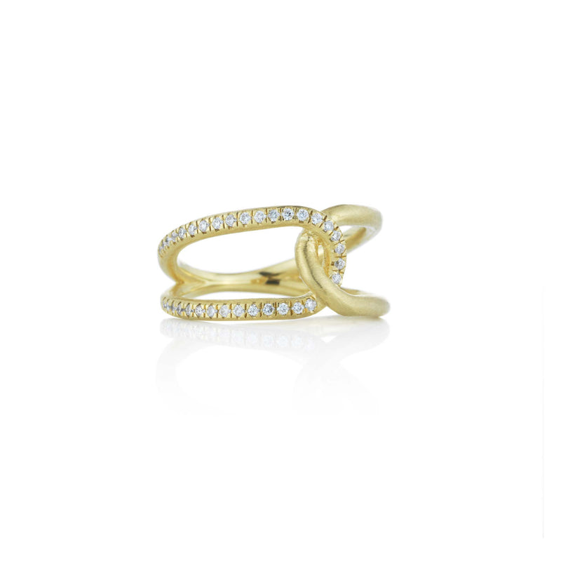 Hand made in Los Angeles Brooke Gregson 14k gold Diamond Love Knot Ring