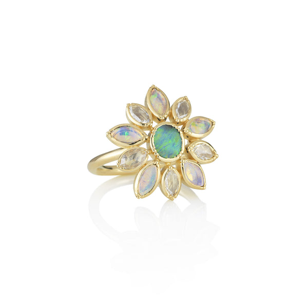 Hand made in London Brooke Gregson 18k gold White Opal Boulder Opal Flower Ring
