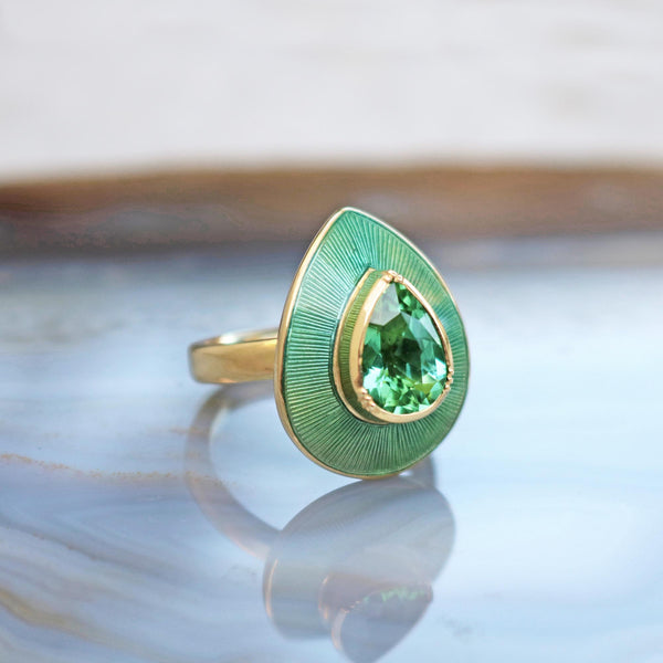Green TOURMALINE Enamel Raindrop RING