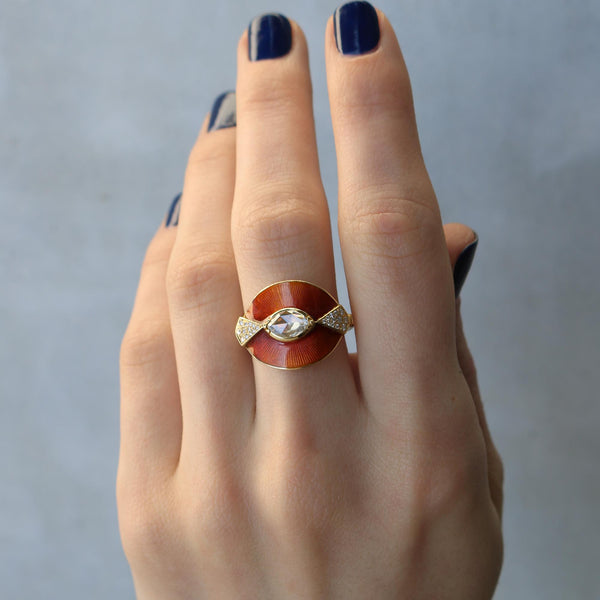 TALISMAN SHIELD CORAL ENAMEL DIAMOND RING