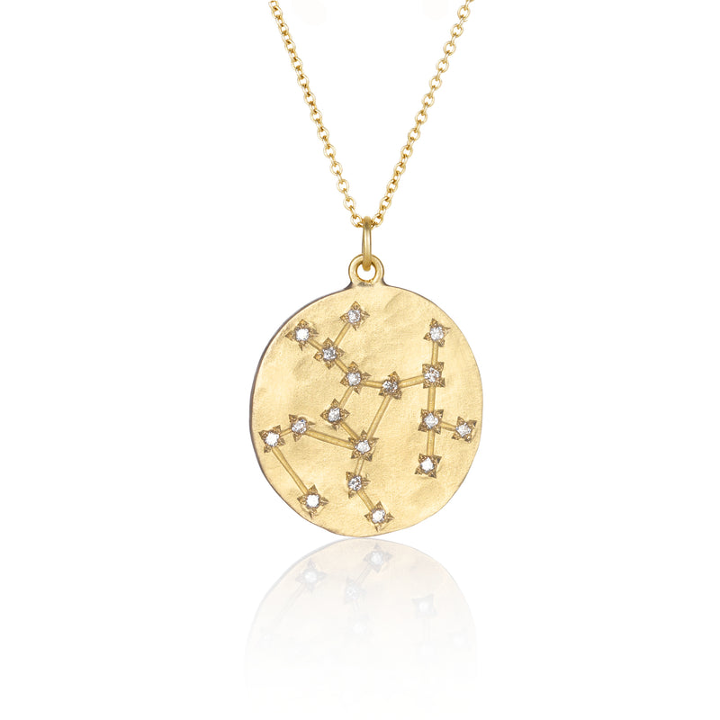 Hand made in Los Angeles Brooke Gregson 14k Gold Astrology Zodiac Sagittarius Diamond Star Sign Necklace