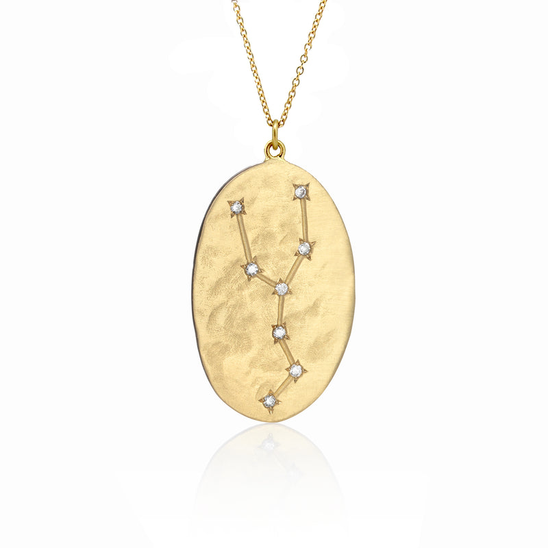 Hand made in Los Angeles Brooke Gregson 14k gold Astrology Zodiac Taurus Diamond Star Sign Necklace