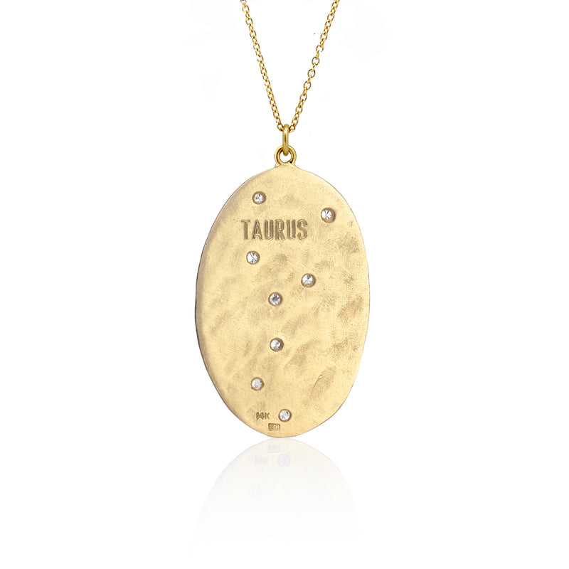 Hand made in Los Angeles Brooke Gregson 14k gold Astrology Zodiac Taurus Diamond Necklace back view