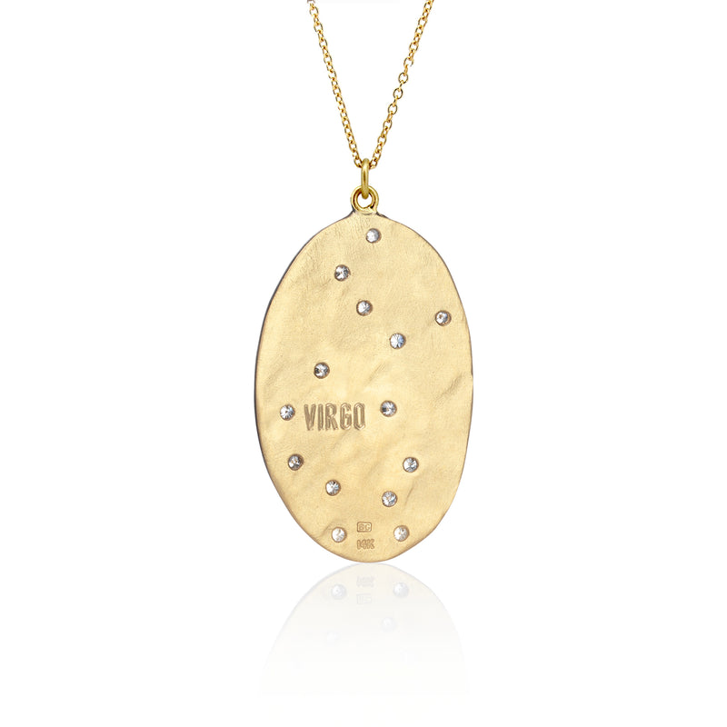 Hand made in Los Angeles Brooke Gregson 14k gold Astrology Zodiac Virgo Diamond Necklace back view