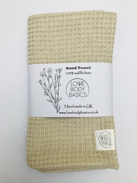 100% waffle linen face or hand towel, travel towel, spa towel