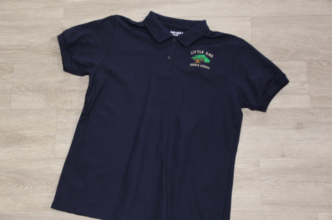 Little Oak Middle Navy 50/50 Pique Polo