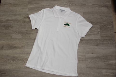 Little Oak Middle White Lady 50/50 Pique Polo
