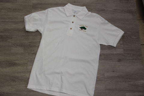 Little Oak Middle White 50/50 Jersey Knit Polo