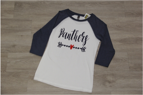 WHITE / NAVY RAGLAN TEE LADY FIT