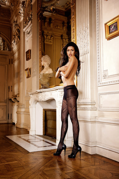 Lace-patterned, black Jacquard Pantyhose.