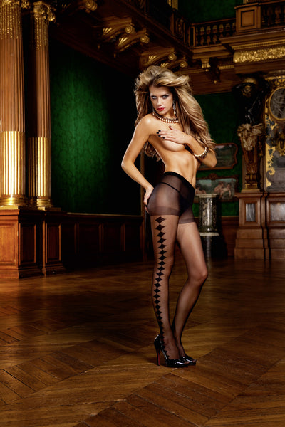Control Top Jacquard Pantyhose (Diamond)