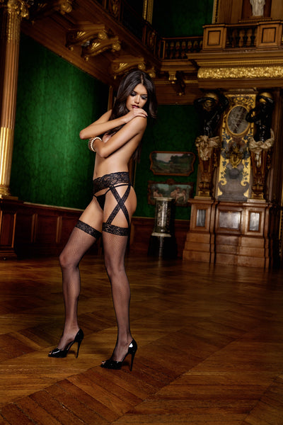 Criss Cross Lace Garter with Lace Top Fishnet Thigh High