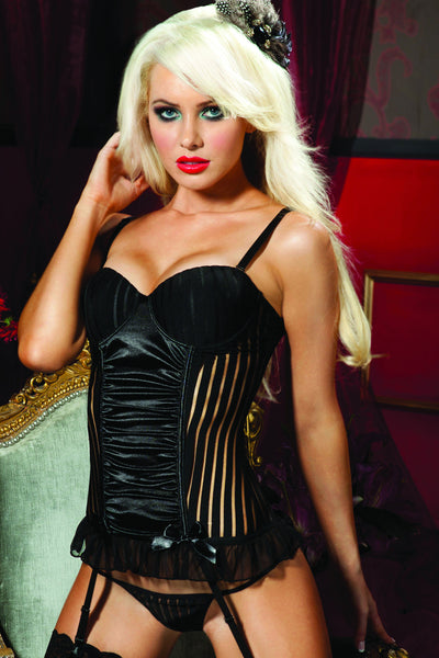 This Solitaire black corset has a shadow stripe bustier and underwire molded cup.